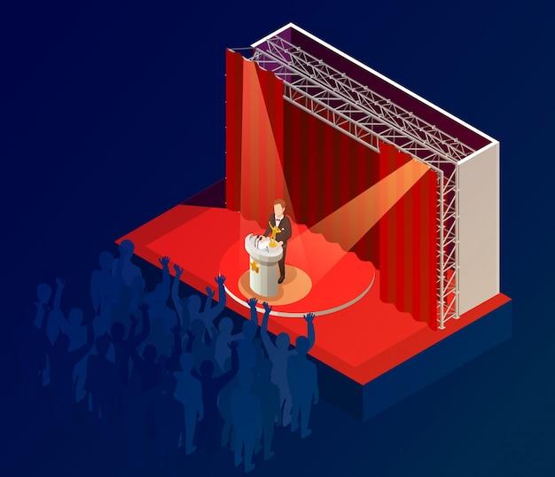 Nagroda muzyczna zwycięzca ogłoszenie plakat izometryczny