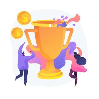 Nagroda pieniężna, trofeum, zasłużona nagroda. sukces zespołowy, mistrzostwo, wysokie osiągnięcia. odbiorcy nagród pieniężnych, zwycięzcy postaci z kreskówek. ilustracja wektorowa na białym tle koncepcja metafora.