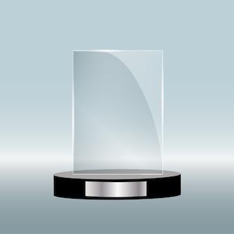 Nagroda pustego szkła na białym tle, przezroczysty szablon trofeum.