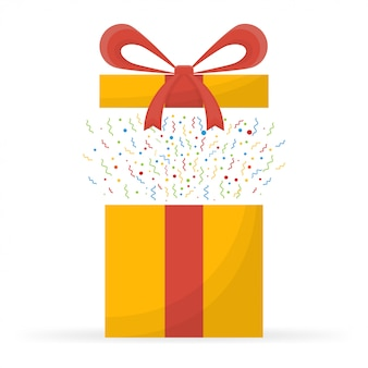 Nagroda specjalna, prezenty premiowe, zaskakujące pudełko, żółte prezenty z czerwoną wstążką, koncepcja bonusowa.