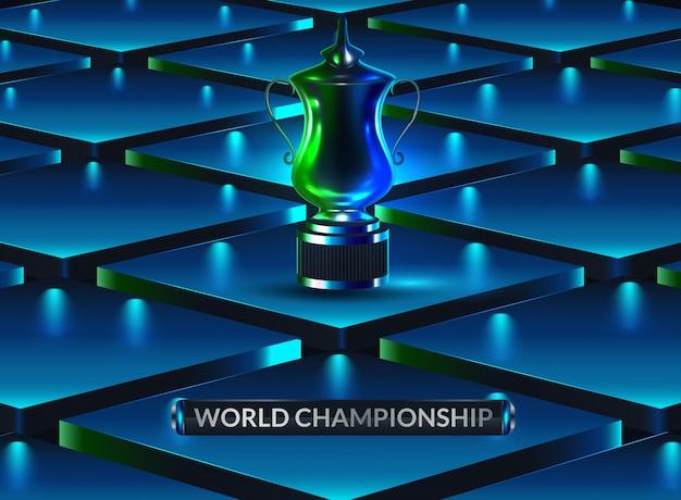 Nagroda to hologram. cyfrowe i technologiczne tło kubek sportowy. futurystyczna nagroda za projekt