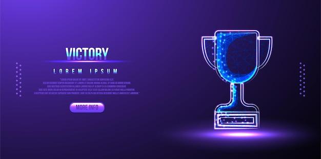 Nagroda trofeum, zwycięstwo, szkielet low poly