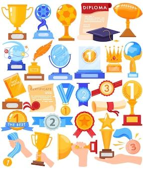 Nagroda trofeum zwycięzca złoty puchar wektor zestaw ilustracji. kreskówka płaskie ludzkie ręce trzymając złotą nagrodę wygrywają pierwsze miejsce w konkursie