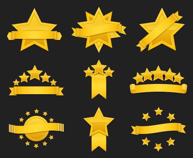 Nagroda wstążka ze złotą gwiazdą. zestaw odznak z gwiazdą i wstążką, ilustracja złota gwiazda do nagrody