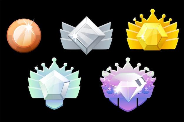 Nagroda za rangę gry, złote, srebrne, platynowe, brązowe, diamentowe ikony geometryczne