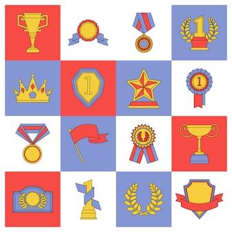 Nagroda zestaw ikon płaskiej linii