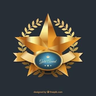 Nagroda złota gwiazda z błyszczącą wstążką
