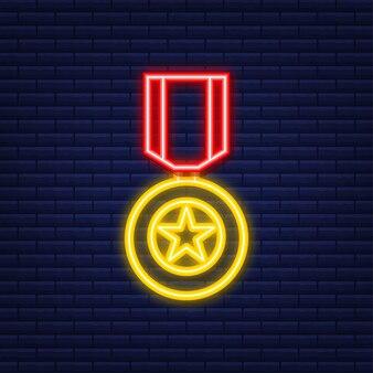 Nagroda złotej gwiazdy bohatera związku radzieckiego. neonowa ikona. animacji.