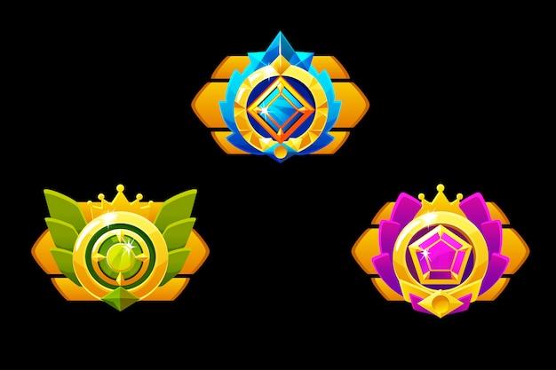 Nagrody medale dla gui game. złoty szablon nagrody z biżuterią.