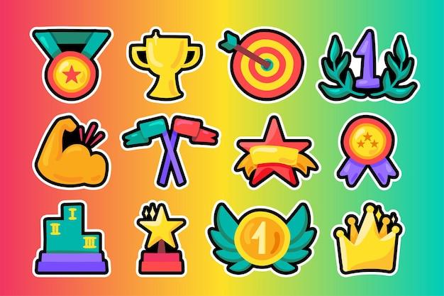 Nagrody płaskie ilustracje zestaw. nagrody dla zwycięzców, kolorowe naklejki z nagrodami. medal, trofeum, naszywki korony