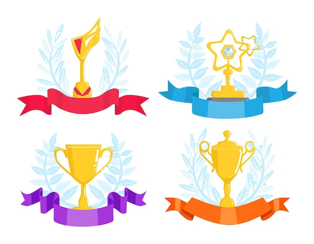 Nagrody trofeum z zestawem wstążek