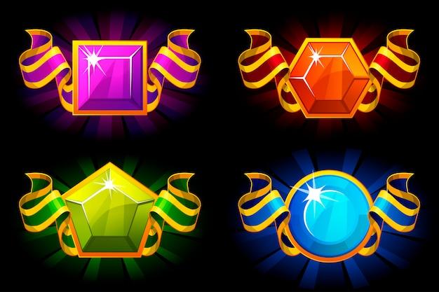 Nagrody z kamieni szlachetnych i wstążki w różnych kolorach. ikony kreskówek dla zasobów gry interfejsu użytkownika.