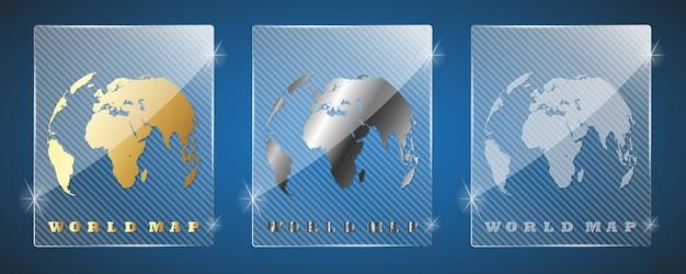 Nagrody ze szklanych trofeów z mapą świata. trzy warianty: złoty, srebrny i proste błyszczące szkło