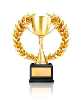 Nagrodzona trofeum kompozycja wieńca laurowego z realistycznym wizerunkiem złotego kubka ozdobionego girlandą z odbiciem