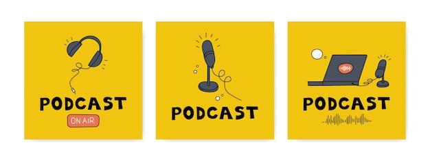 Nagrywanie i słuchanie podcastów, nadawanie, radio internetowe, usługa strumieniowego przesyłania dźwięku koncepcja. słuchawki, mikrofon, laptop, korektor, dymki. ręcznie rysowane wektor zestaw. pojedyncze elementy