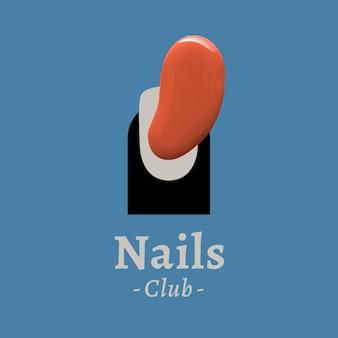 Nails club business logo wektor kreatywny kolor styl malowania