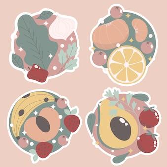 Naiwna kolekcja naklejek owoców i warzyw