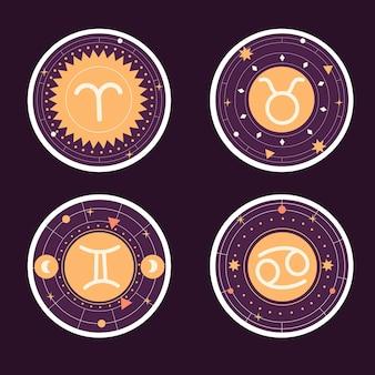 Naiwna Kolekcja Naklejek Ze Znakiem Zodiaku Premium Wektorów