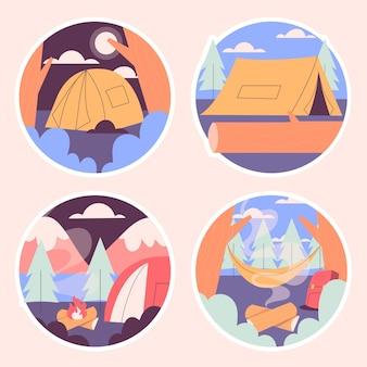 Naiwne naklejki kempingowe z namiotami