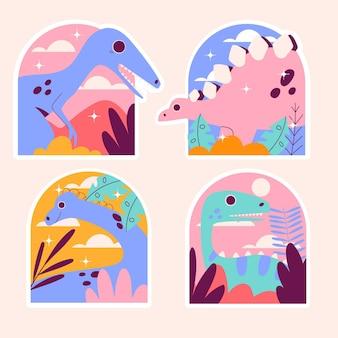 Naiwne naklejki z dinozaurami