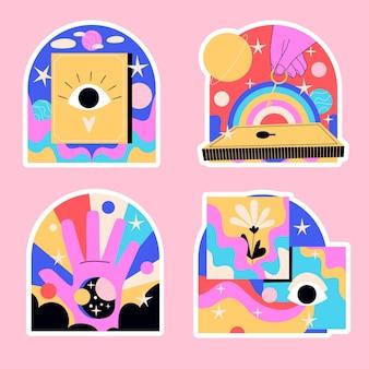 Naiwne psychodeliczne naklejki kolorowa ilustracja