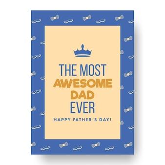 Najbardziej niesamowity tata kiedykolwiek fraza na niebieskim i brzoskwiniowym żółtym tle na szczęśliwy dzień ojca.