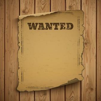 Najbardziej poszukiwany, dziki zachód, grunge, stary plakat.