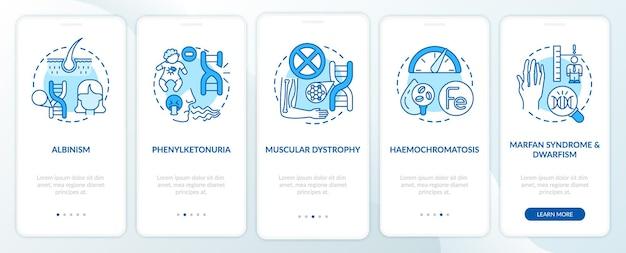 Najczęstsze zaburzenia genetyczne niebieski ekran strony onboardingowej aplikacji mobilnej z koncepcjami