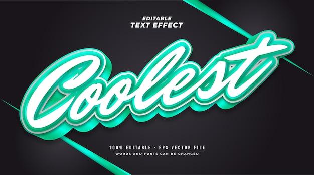 Najfajniejszy styl tekstu w kolorze białym i zielonym z efektem 3d. edytowalny efekt tekstowy