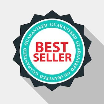 Najlepiej sprzedający się etykieta jakości zaloguj się w płaski nowoczesny design z długim cieniem. ilustracja wektorowa eps10