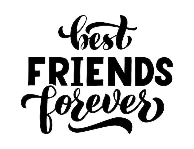 Najlepsi przyjaciele na zawsze slogan fraza lub cytat nowoczesna ilustracja wektorowa