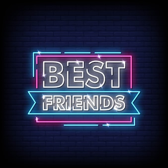 Najlepsi przyjaciele neonowe znaki styl tekst wektor