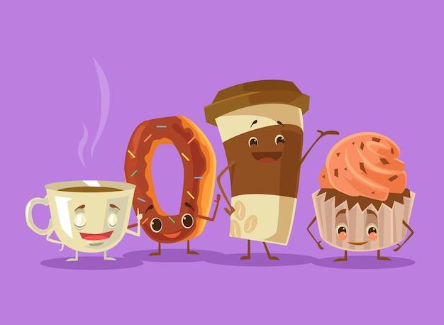 Najlepsi przyjaciele pączka z kawą i herbatą.