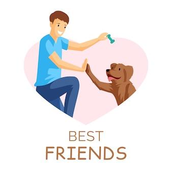 Najlepsi przyjaciele płaskie ilustracja. facet i szczeniak grają razem w ramce w kształcie serca. pozytywne emocje, przyjaźń, młody chłopak z zwierzakiem w granicy postać z kreskówki na białym tle