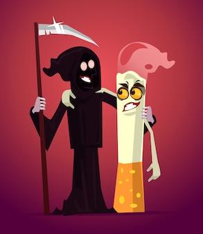 Najlepsi przyjaciele postaci z papierosa i śmierci.