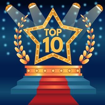 Najlepsza dziesiątka nagród na podium z gwiazdą