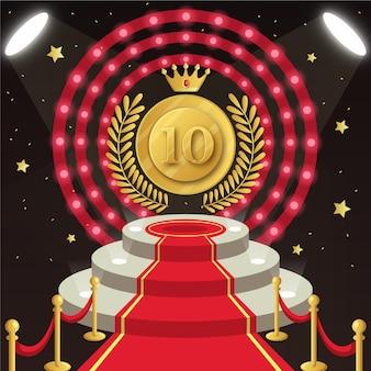 Najlepsza dziesiątka nagród na podium z koroną