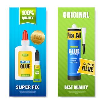Najlepsza jakość napraw wszystkie butelki z klejem tuby kije kolorowe realistyczne pionowe banery zestaw izolowanych ilustracji