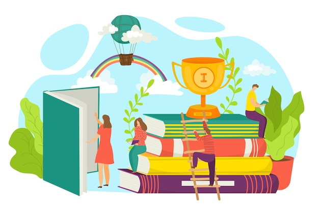 Najlepsza koncepcja książki, ilustracja. książki bestsellerów. stos książek i puchar z nagrodami. kupie kolorowe książki. symbol edukacyjny, światowy dzień książki. zwycięzca księgarni, bestseller.