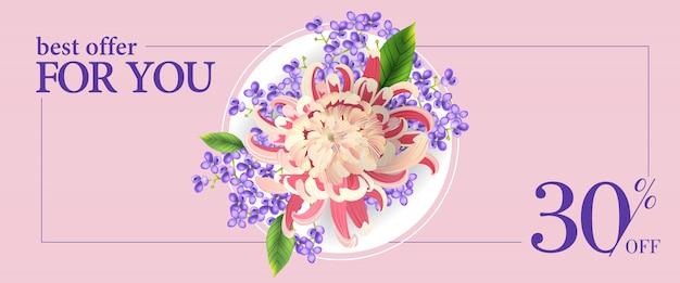 Najlepsza oferta dla ciebie trzydzieści procent off banner z kolorowymi kwiatami i białym kółkiem