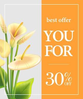 Najlepsza oferta dla ciebie trzydzieści procent off plakat z białych lilii calla na pomarańczowym tle