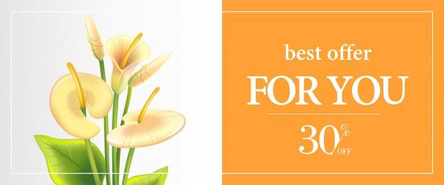 Najlepsza oferta dla ciebie, trzydzieści procent off szablon transparentu z białych lilii calla