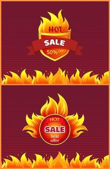 Najlepsza oferta gorąca promocja odznaka promocja oferta płonący ogień