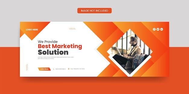 Najlepsza okładka na facebooku z marketingu cyfrowego i szablon mediów społecznościowych z banerem internetowym