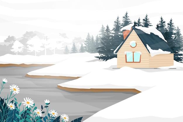 Najlepsza scena z krajobrazem przyrody domu i leśnego drzewa zimy pokrytego śniegiem do białego, ilustracja przyrody wiejskiej