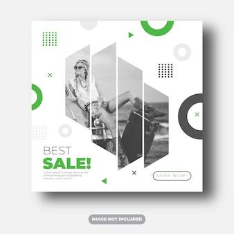 Najlepsza sprzedaż baner społecznościowy lub szablon ulotki kwadratowej wektor premium