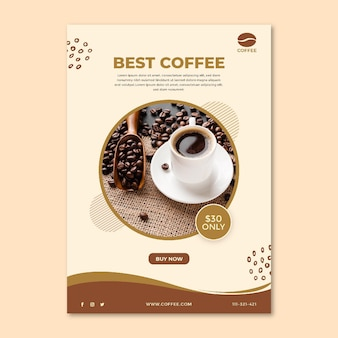 Najlepsza ulotka z filiżanką kawy i fasolą