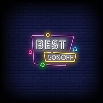Najlepsze 50% zniżki na tekst w stylu neonów