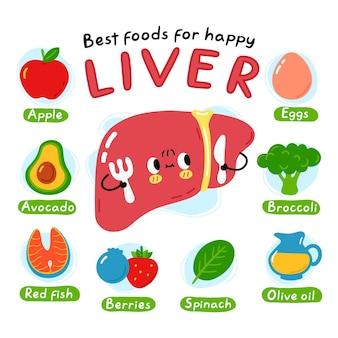Najlepsze jedzenie dla plakatu infografiki szczęśliwej wątroby