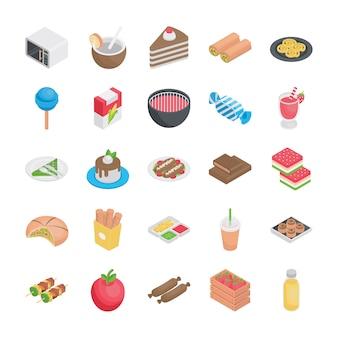 Najlepsze jedzenie płaskie ikony